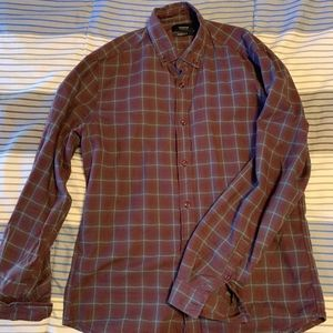 Reserved Mens Plaid Red Button Down Shirt